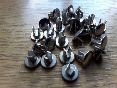 4mm x 6.5mm  Bifurcated Split leg Nickel plated  Steel Rivets Oval Head Qty 25