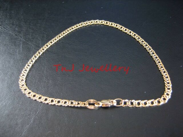 Authentic Solid 9ct 9k Yellow Gold Oval Double Curb Diamond Cut Ladies Bracelet