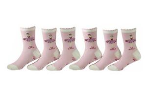 Country-Kids-Girl-039-s-6-Pairs-Ballerina-Pink-Crew-Socks-Sz-8-9-Fits-Shoe-12-6