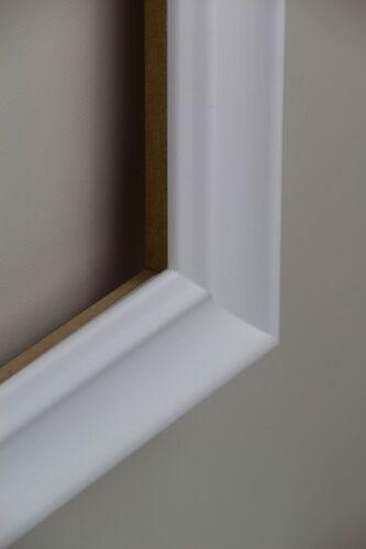 Bilderrahmen Bergamo MDF Größenwahl Weiß gemasert Antireflex-Acrylglas 2mm