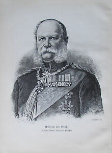 Brendamour-WILHELM-DER-GROssE-deutscher-Kaiser-alter-Druck-aus-ca-1897-old-print