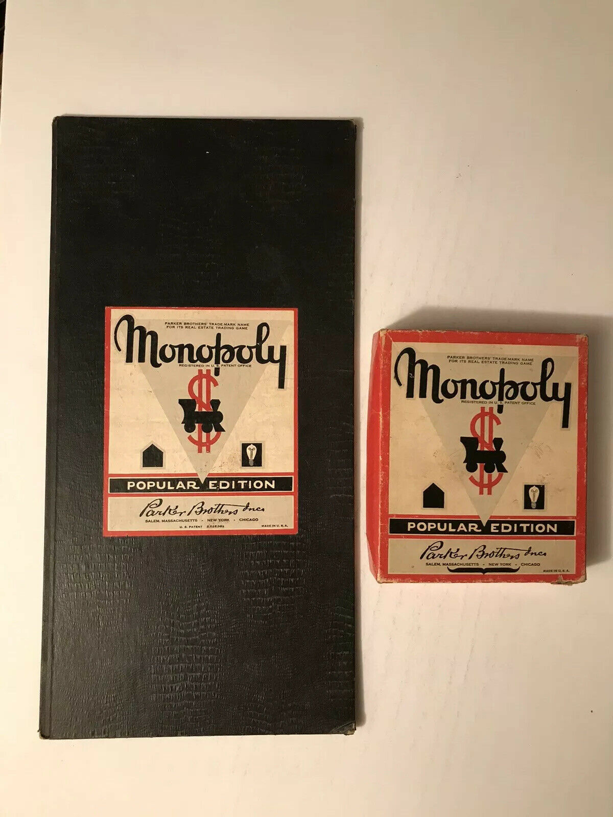 1953 HARD-TO-FIND VINTAGE  MUSTACHE  MONOPOLY GAME POPULAR EDITION rot BOX