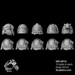 SHOULDER PADS SKALD TYPE 32mm by Liber Daemonica bitz resin kit