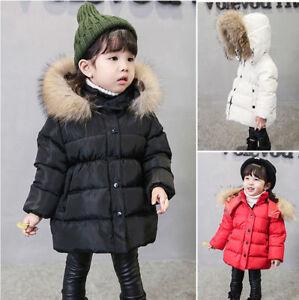 1dd502f79 New Kids Boy Girls Puffer Down Jacket Padded Coat Cotton Fur Warm ...