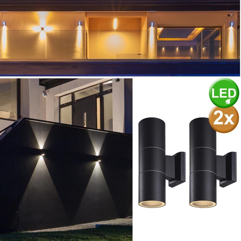 2's Set Maison Mur Up&down Luminaire Terrasse Lumières Verre D'Extérieur