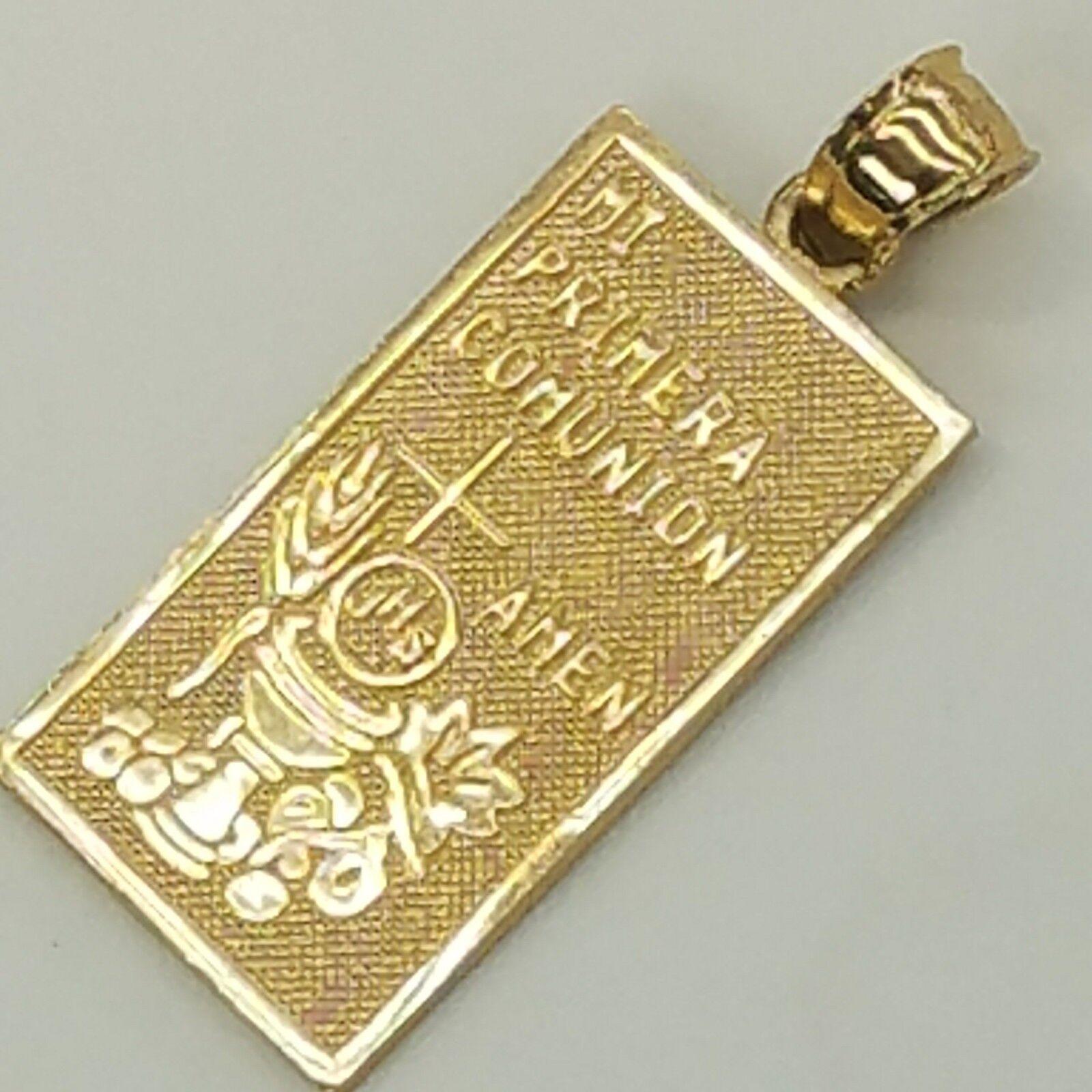 14K yellow gold diamond cut First Communion  (Primera Comunion) pendant 1.25