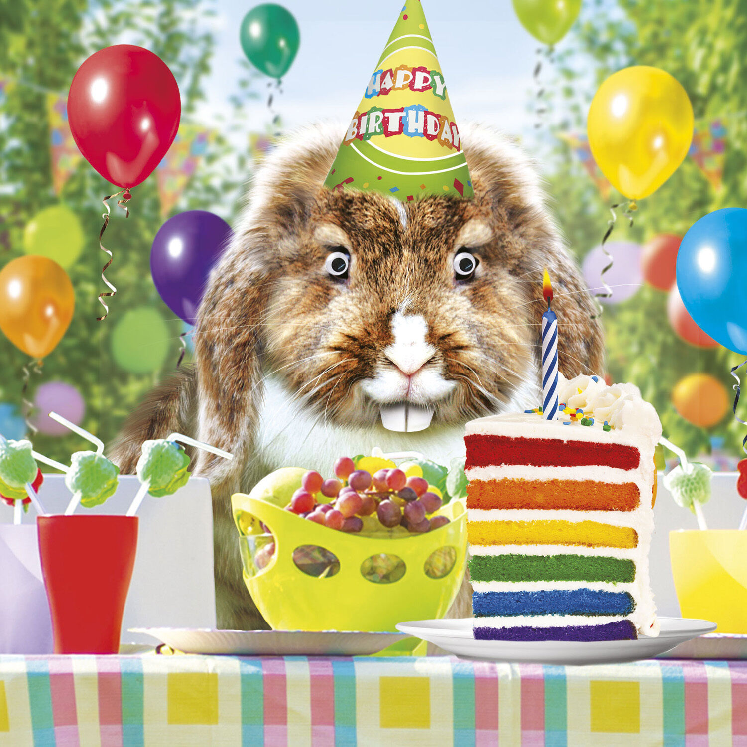 Hot Of The Press From New Georgie Lous Greeting Cards Range A Funny Rabbit In Birthday Hat Enjoying All His Favourite Treats