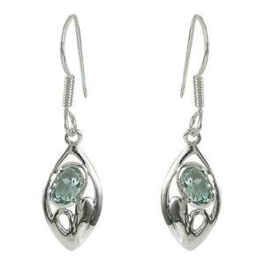 Handmade-Solid-925-Sterling-Silver-amp-Blue-Topaz-Crystal-Earrings-925147