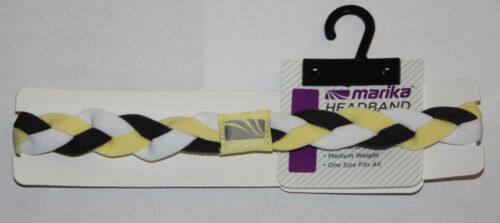 "Marika Women/'s ¾/"" Yellow Black /& White Braided No-Slip Grip Headband Sz OS **"