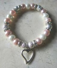 White & Pink Mothers Day Diamante Pearl Silver Heart Bracelet New in Gift Bag