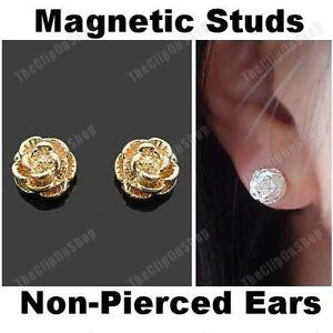 MAGNETIC-clip-on-ROSE-STUD-EARRINGS-flower-GOLD-SILVER-PLATED-non-pierced-studs
