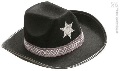 Childrens Black Felt Sheriffs Hat Cowboys /& Indians Fancy Dress