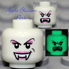 NEW Lego Glow in Dark VAMPYRE BRIDE FEMALE MINIFIG HEAD -Dracula/Monster/Vampire