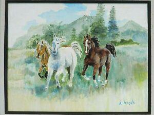 "M. JANE DOYLE SIGNED ORIG. ART OIL/CANV PAINTING ""FREEDOM"" (WILD HORSES) FRAMED"