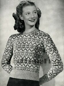 82d18a584e27a1 Vintage Knitting Pattern 1940s Lady s Fair Isle Jumper Sweater.