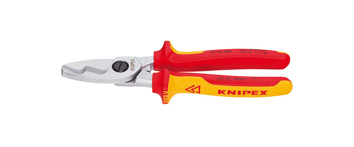 Knipex 95 16 200 Cable Shear with Twin Cutting Edge 1000V Insulated 200mm