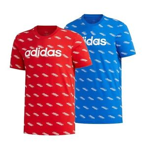 Mens Adidas Stylish Casual Comfortable Linear AOP T Shirt Sizes from S to XXL