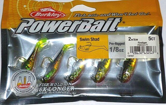 """Firetiger-5//pack Berkley Powerbait 1//8-2/"""" Rigged Swim Shad Swimbaits"""