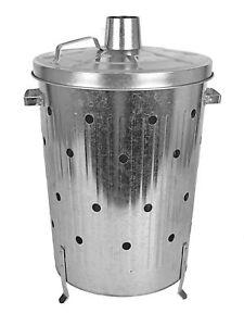 Metall Verbrennungstonne 75 L - verzinkt - Feuertonne Feuerschale Terrassen Ofen