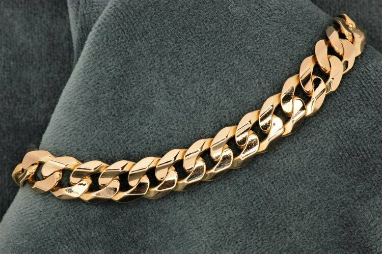 14K Yellow Solid gold Finish MIAMI CURB LINKING BRACELET for Mens