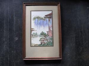 1920s-JAPANESE-FLOWER-GARDEN-Watercolor-Painting-w-WISTERIA-amp-AZALEAS-vintage