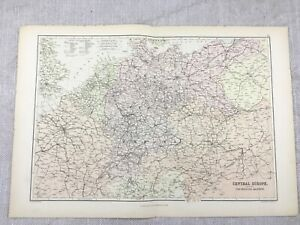 1882-Antique-Railway-Map-of-Central-Europe-Rail-Route-Line-Original-19th-Century