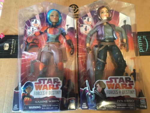 New Star Wars Forces of Destiny Doll Figure Lot Sabine Wren and Jyn Erso Set