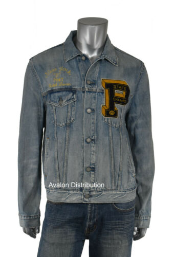Polo Ralph Lauren Distressed P Patch Tigers Varsity Denim Trucker Jacket New
