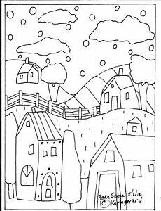 RUG-HOOK-CRAFT-PAPER-PATTERN-Barn-Scene-FOLK-ART-PRIMITIVE-Karla-Gerard