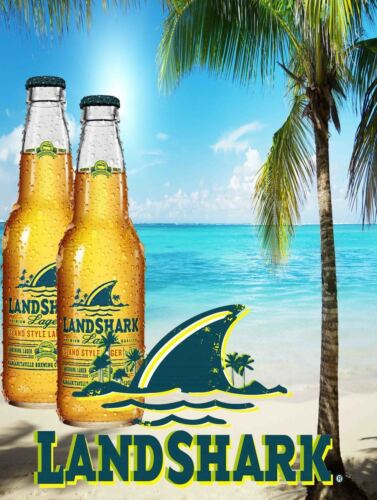 Landshark Lager Bottles with Palm Trees on the Beach Metal Sign