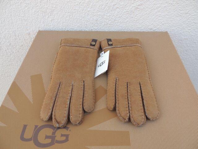 bec2e6f329b L UGG Australia Tenney Womens Suede Genuine Sheepskin Turn Cuff Gloves Brown