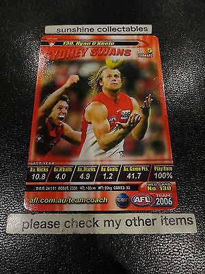 Australian Football Cards Sports Trading Cards 2006 Afl Teamcoach Base Card Sydney No.130 Ryan O'keefe Always Buy Good