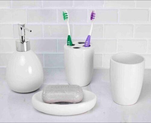 Home Basics NEW White Ceramic Soap Toothbrush Bathroom Accessory Set BA41263