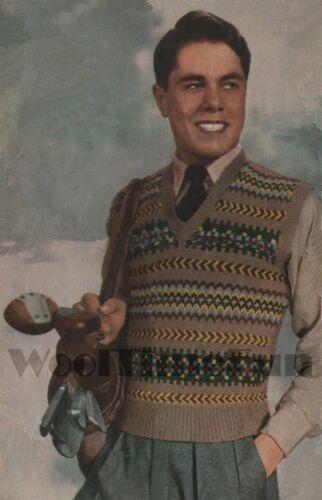 Vintage Knitting Pattern Mens Classic Fair Isle Vest//Tank Top//Slip Over.