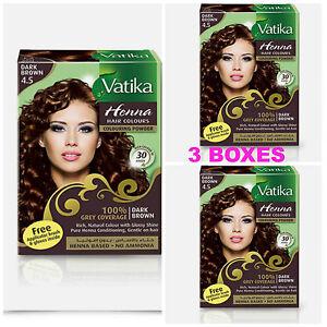 3 Boxes Dabur Dark Brown Henna Hair Color Powder No Ammonia Free