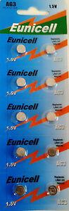 EUNICELL-10-Piles-Bouton-AG3-392-LR41-SR41SW