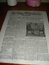 "1917 Bible Students Monthly ""WAR EXTRA"" Watchtower IBSA Jehovah"