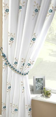 TEAL BLUE WHITE PEARLS FULLY LINED PENCIL PLEAT THICK VOILE CURTAINS 57 X 72