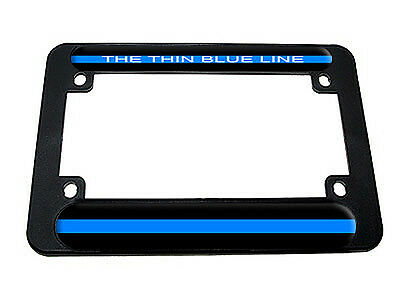 Retired Thin blue line police support chrome reflective  license plate car tag
