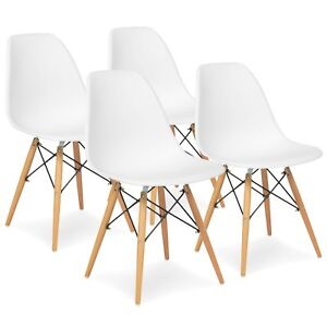 Surprising Details About 4 White Mid Century Modern Style Dining Kitchen Chair Wooden Legs Abs Plastic Bralicious Painted Fabric Chair Ideas Braliciousco