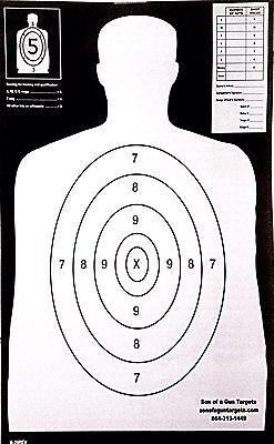 Paper Shooting Targets Silhouette Gun Pistol Rifle B-29 25YRD.14X23 Qty. 100