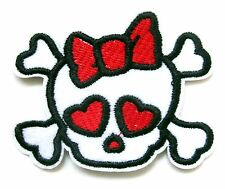 Skull With Bow Iron On Patch- Skeleton Monster Embroidered Badge Applique Sew