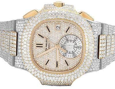 salvare 35bdf 17b94 18k Rose Gold/Steel Mens Patek Philippe Nautilus 5980/1AR-001 Diamond Watch  32Ct 605963276617 | eBay