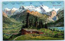 *Switzerland Mountains Map Berner Oberland Bernese Cabin Vintage Postcard B14