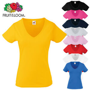 Fruit-of-the-Loom-Women-039-s-Short-Sleeve-Valueweight-V-Neck-T-Shirt-Ladies-Fit-Top