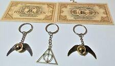 Harry Potter Hogwarts Charm Keyring Deathly Hallows Clip Bag Key Ring Snitch Owl