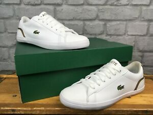 LACOSTE-UK-3-5-EU-36-LEROND-WHITE-GOLD-LEATHER-TRAINERS-CHILDRENS-LADIES-LG