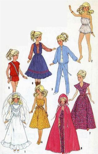 Doll Clothes Pattern 5356 Barbie Midge Wonder Woman Super girl Bat girl Samantha
