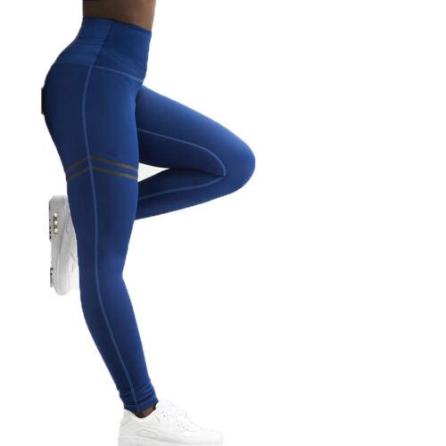 Damen Hohe Taille Sporthose Yogahose Joggings Leggins Strecken Gym Hose Laufhose