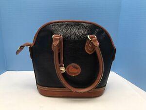 Vintage-Dooney-amp-Bourke-Handbag-Brown-Blue-black-All-Weather-Leather-Bag